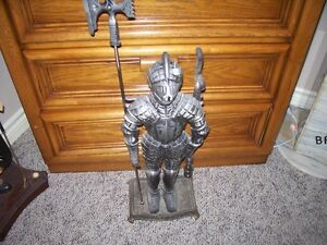 silver knight  fireplace poker tool stand
