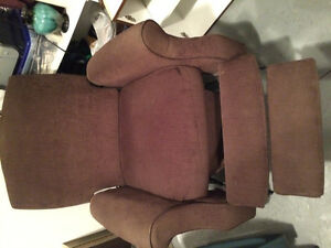 Brown cloth recliner