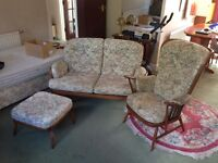 Ercol 2seat settee, chair & footstool