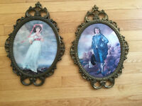 Vintage Pinkie and Blue Boy in Italian Metal Frames Bubble glass