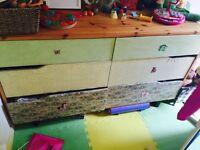Solid pine wood original design children chest of drawers.