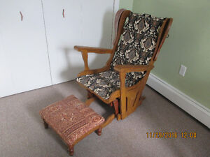Antique-Painted Rocking Chair and Foot Stool