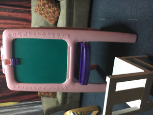 Girl's easel - 2-sided (pink) + Kid's wooden chair (white)