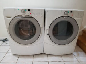 "Whirlpool 27"" white frontload stack able white washer & dryer"