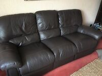 2 & 3 seater brown leather sofas £100