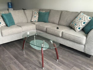 SECTIONAL COUCH AND COFFEE TABLE - LIKE NEW! MUST GO!!