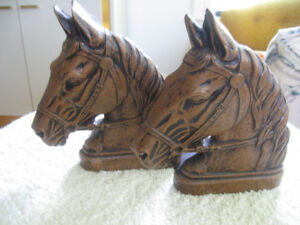SET of EXQUISITE MOLDED HORSE HEAD BOOK ENDS  ['50]