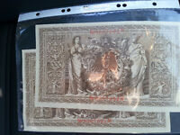 1910 German 1000 Mark Notes 2 notes, sequentially numbered