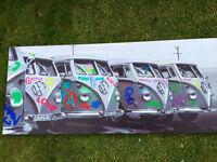 Classic group VW camper vans canvas print