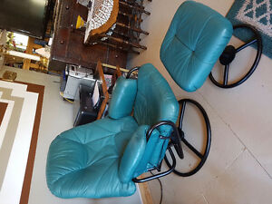 Leather recliner chair and ottoman..wanted