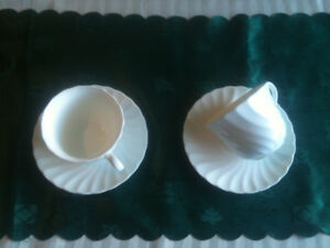 WHITE WEDGEWOOD CUPS & SAUCERS