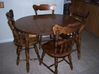 Small Solid wood dining table with leaf and 4 chairs