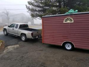 Hunting hut camper trailor