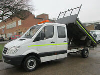2010 Mercedes Sprinter 2.1TD 311CDI LWB TIPPER DOUBLE CREW CAB DROPSIDE. 1 OWNER
