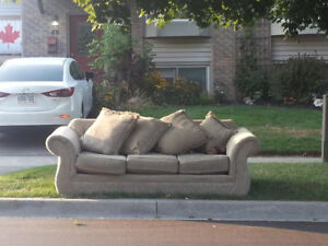 FREE! Beige 3 seat sofa/ couch (South Bowmanville) at curb
