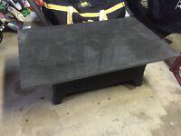 Outdoor granite top wicker base coffee table