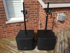 Two EV EKX-15SP Powered Subwoofers Speakers w/ covers