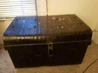 Vintage metal storage trunk