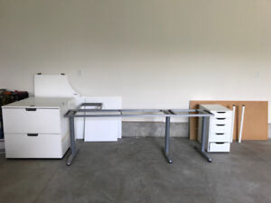 Office Desk- L shaped with filing cabinets