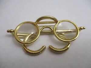 9131a6ca41e Round Vintage Style Eyeglasses Brooch with Eyeglass Keeper
