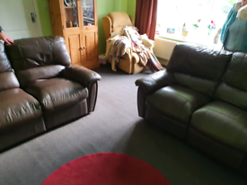 2 brown leather reclining sofas