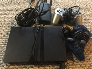 PS2 PlayStation 2 Slim w/Racing Steering Wheel