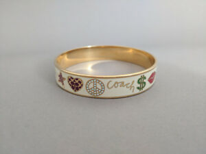 Authentic Coach Bracelet, White Enamel, Crystal, and Gold