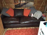 2 Large furniture village Italian leather sofa