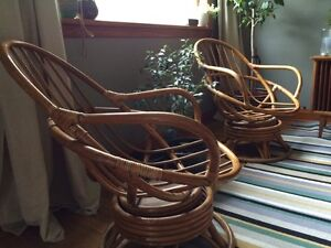 Rattan, bent wood, mid-century, swivel, rocking chairs
