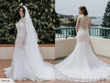 Modern crape silk wedding dress with high neck lace 8/10 | Wedding ...