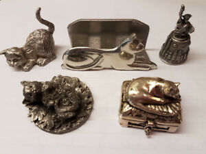 Pewter Cat Figurines & Egg Holder