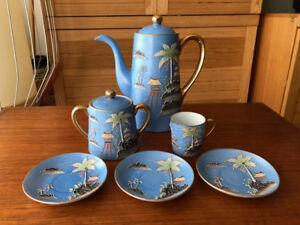 Antique Japanese Sky Blue Moriage Tea Coffee Pot Sugar Cup Sauce