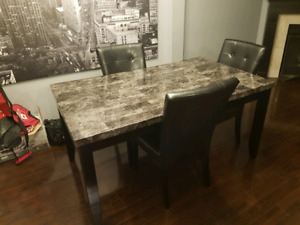 Faux Granite Top Dining Table