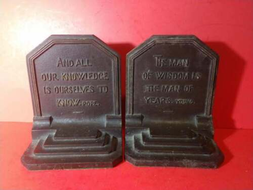 ANTIQUE BRADLEY AND HUBBARD BRONZED CAST IRON BOOKENDS QUOTES YOUNG, POPE