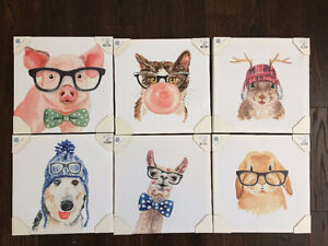 Six Animal Canvas Pictures