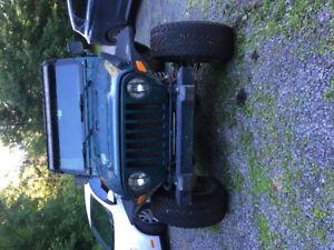 jeep 2000 manuel 4,0L tj toit dure plus frame de toit mou plaqué