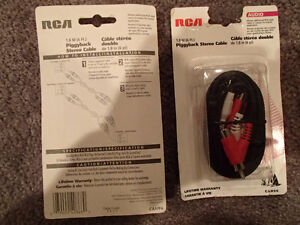 2 Pcs RCA CAH96 - Piggyback Stereo Hook-up Cable 1.8m (6 ft). Sarnia Sarnia Area image 2
