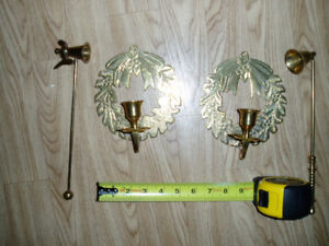 brass christmas candle holders with snuffers