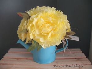 Yellow Coffee Filter Peony in Teal Tin Watering Can/Spring Decor Belleville Belleville Area image 3