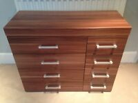 Walnut chest of drawers practically new