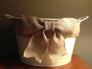 JUST MADE LARGE METAL BUCKET WITH BURLAP ACCENTS