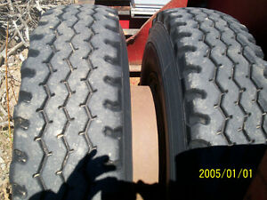 Tires and Wheels off of 50 Ton Float