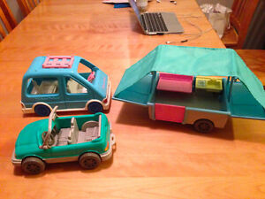 vintage fisher price tent trailer and van and car