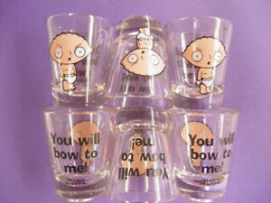 Stewie Griffin Shot Glasses Brand New 6 For 10.00