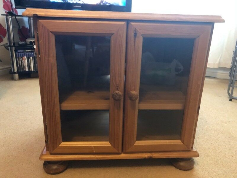 Solid Pine Tv Hifi Cabinet With Glass Doors In Newark