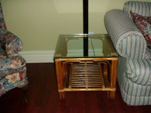 Pier 1 Glass Top bamboo Coffee and End Table