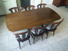 Ercol Refectory Dining Table (Model No. 155) & 6 Ercol Chairs