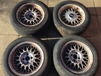 """ACT 15"""" rims with tyres 4x100 e30 BMW"""