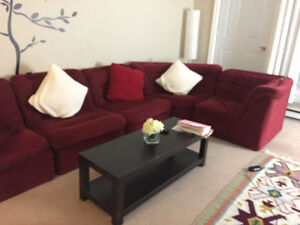 Sectional red comfortable sofa with coffee table for 150$