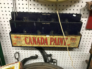 VINTAGE CANADA PAINT METAL WALL COUNTER DISPLAY GREAT GRAPHICS